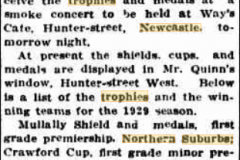 Football Trophies presented 1929.