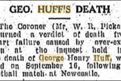 Coroner returns verdict on Gorge Huff's death 1933.