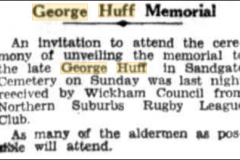 Invitation to George Huff's memorial 1934.
