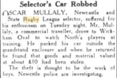 Selector Oscar Mullaly's car broken into.