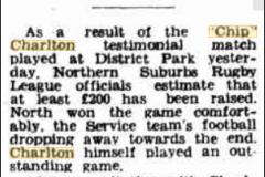 Money raised for Chip Charlton's Testimonial 1945.