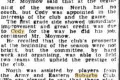 Praise for Reg Cody's Training 1942.