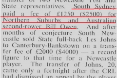 Bill Owen Transfer fee 1963.