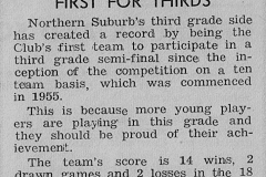 Article on Northern Suburbs 3rd Grade 1967