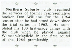 Don Williams 100 Games 1964.