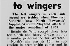 Bernie de Witt scores 3 Trys 1962.
