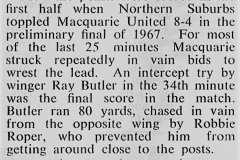 Northern Suburbs vs Macquarie Prelim Final 1967.