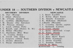 Southern Division vs Newcastle Under 18's 19th April 1970
