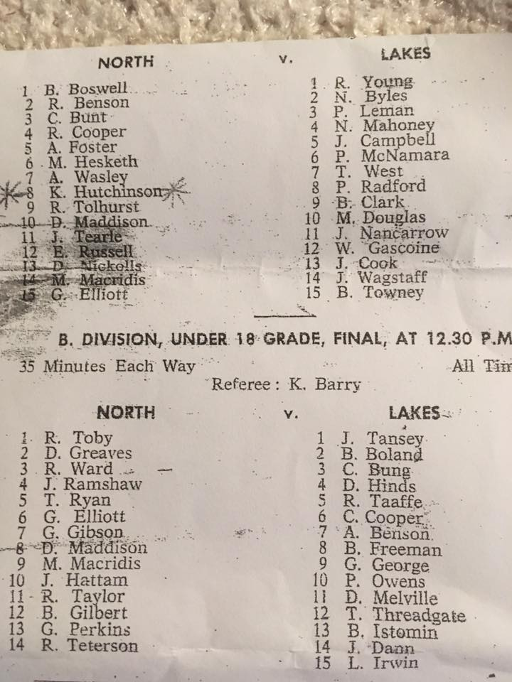 Northern Suburbs vs Lakes Under18's 1964.