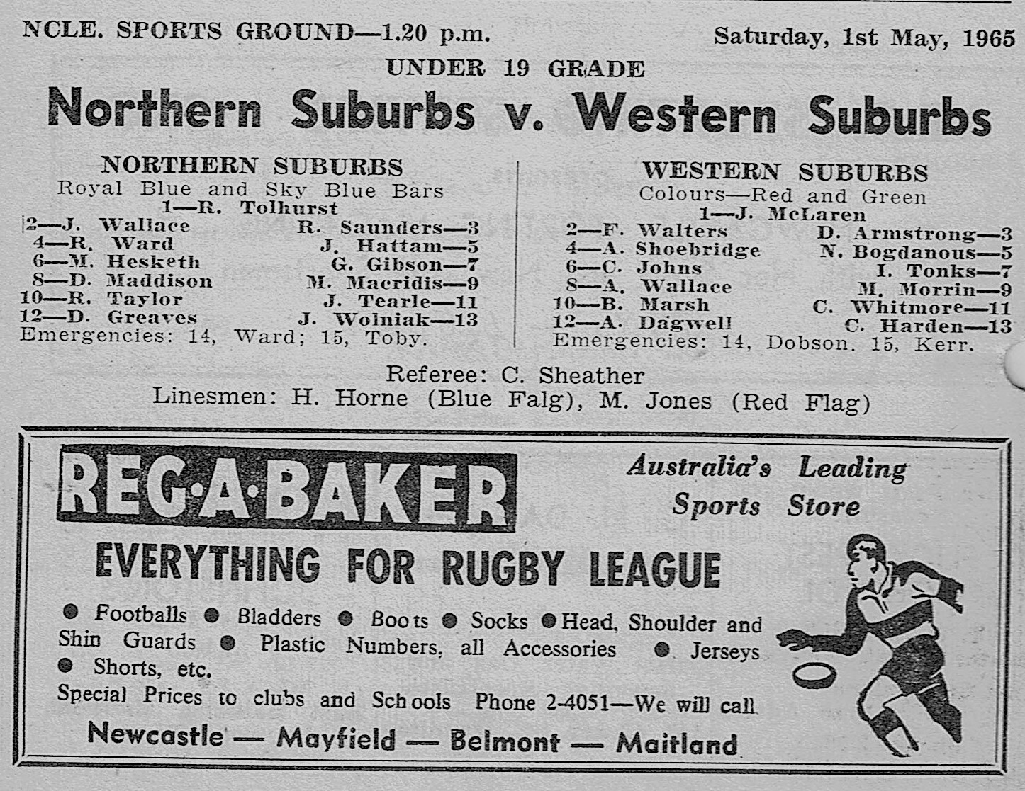 Norths vs Wests Under 19's 1st May 1965.