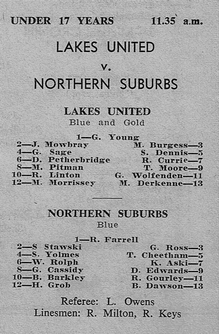 Lakes vs Norths Under 17's 1972.