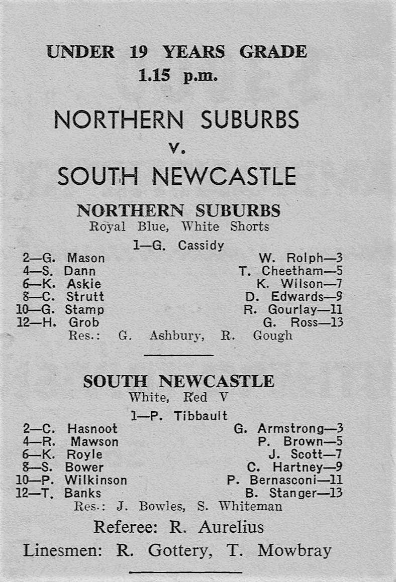 Under 19's Norths Vs Souths 1973.