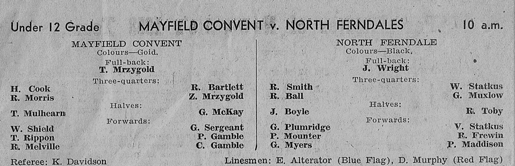 Mayfield Convent vs North Ferndales.