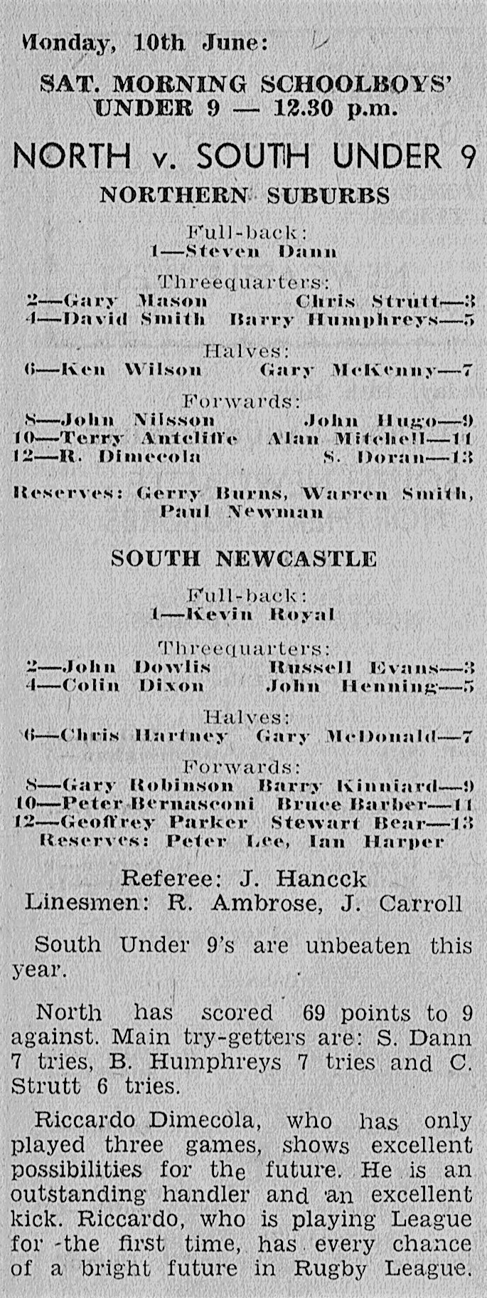 Norths vs Souths Under 9's - Cahill Oval Mon 1 1963
