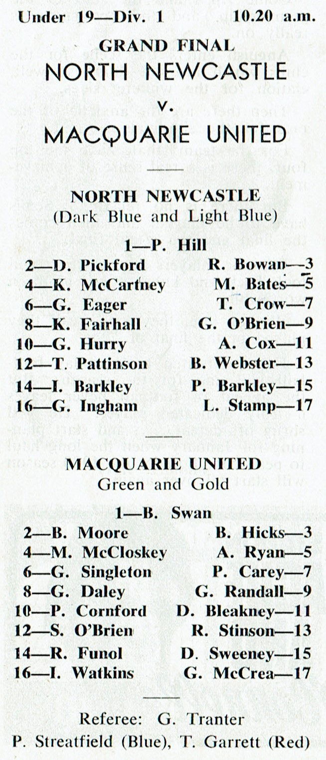 Under 19's 1979 9th sep 1979
