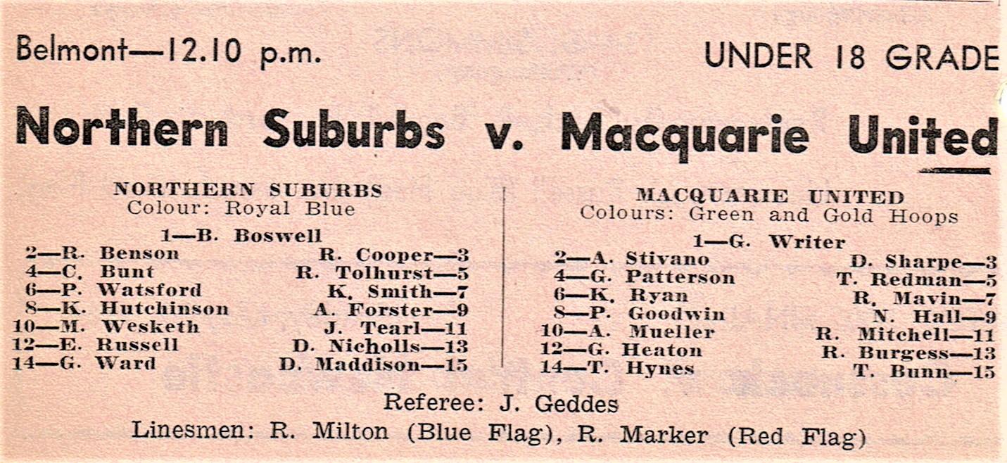 Norths vs Macquarie Under 18's 1964.