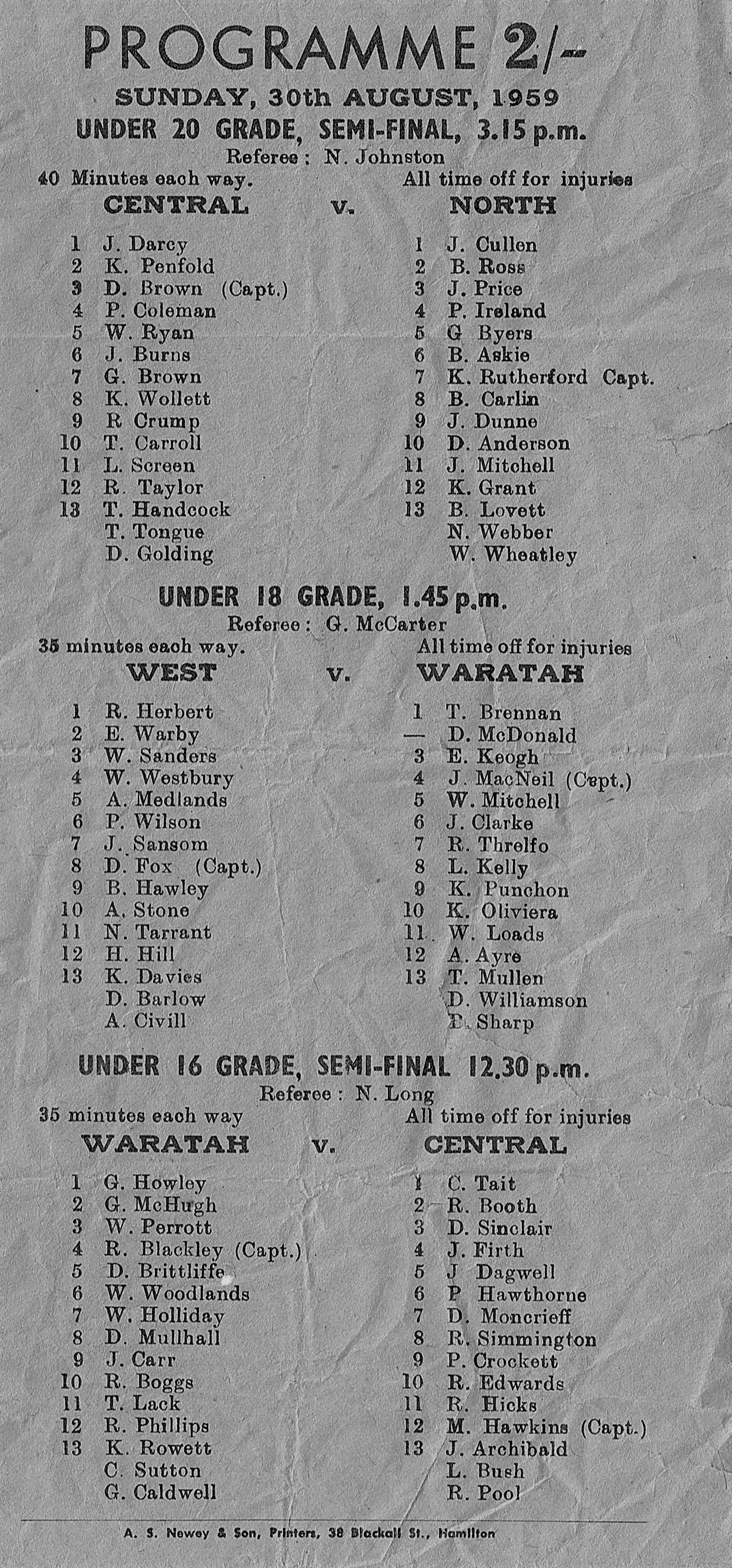 Norths vs Central Under 20's 1959.