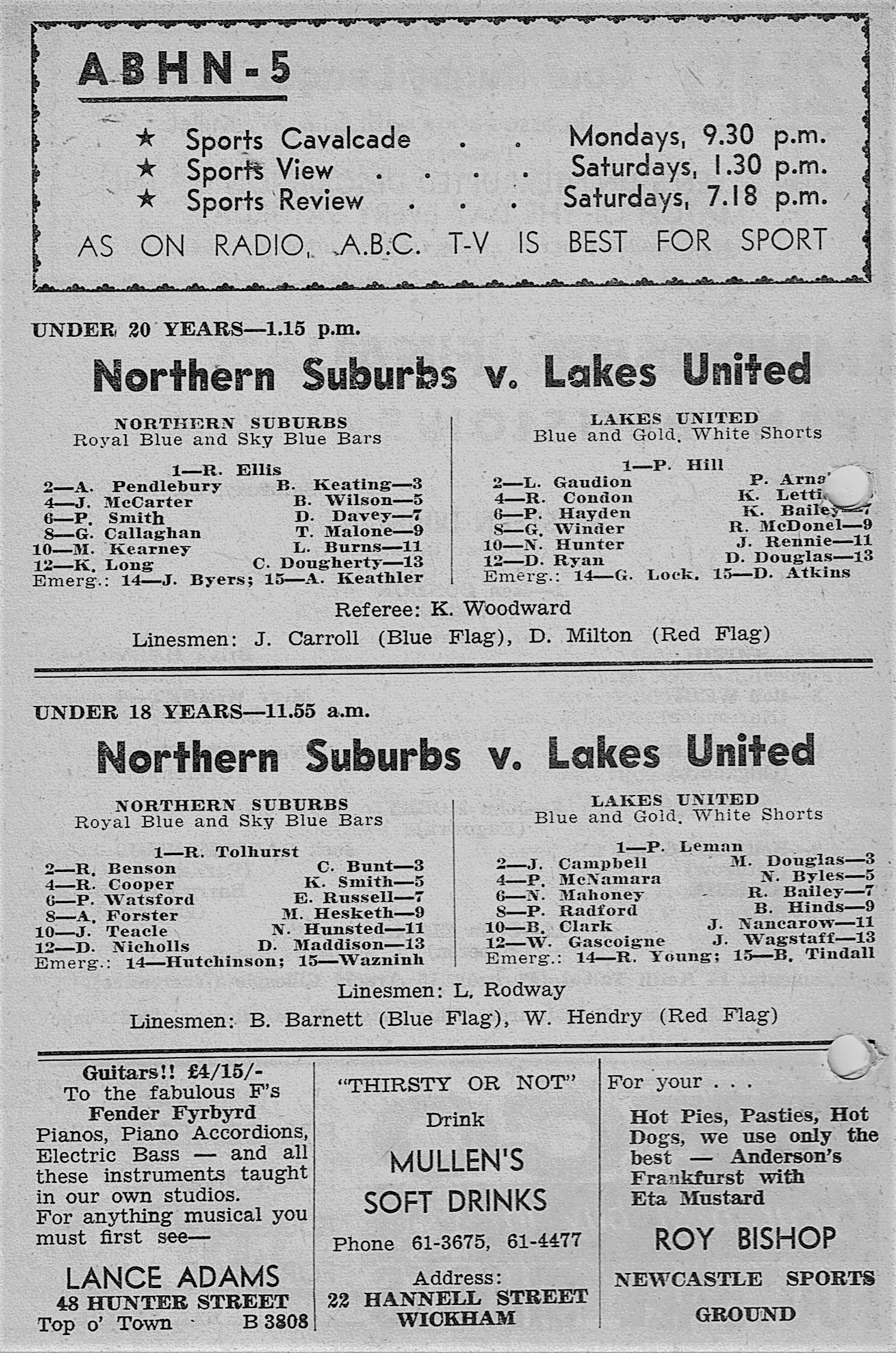 Norths vs Lakes Under 20's,18's 1964.