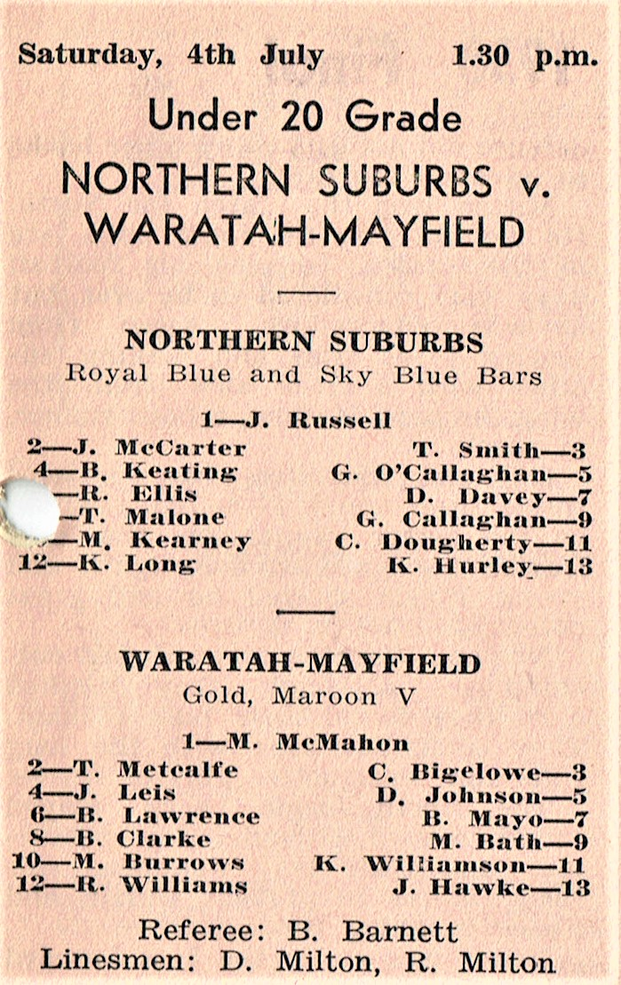 Norths vs Waratah Under 20's 1964.