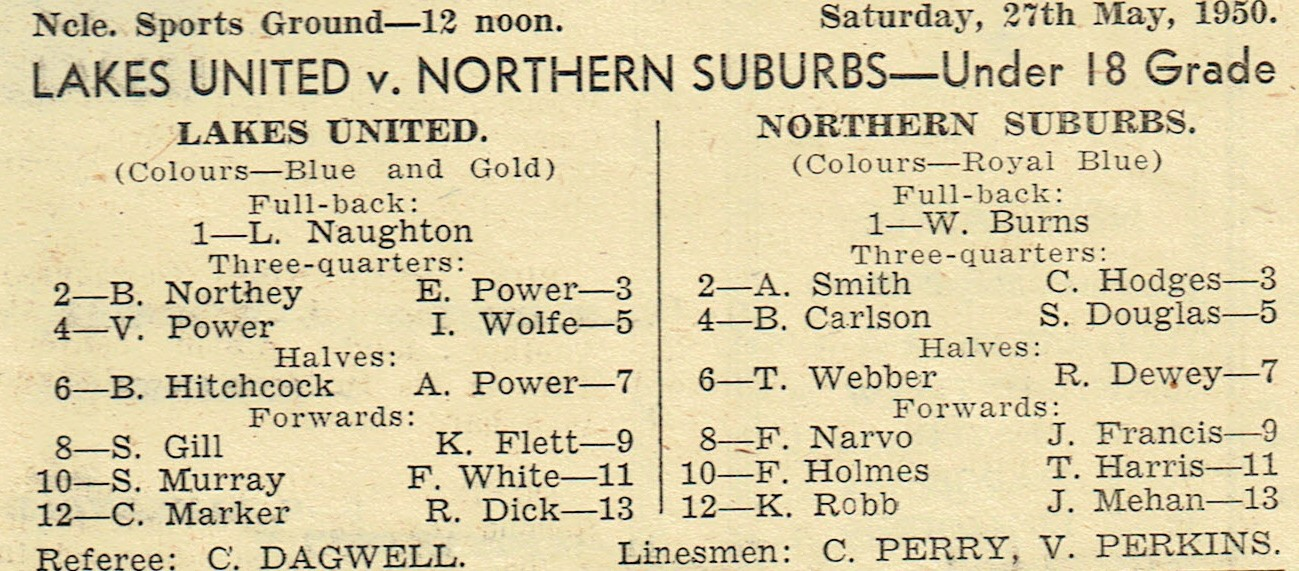 Lakes vs Norths Under 18's 1950.