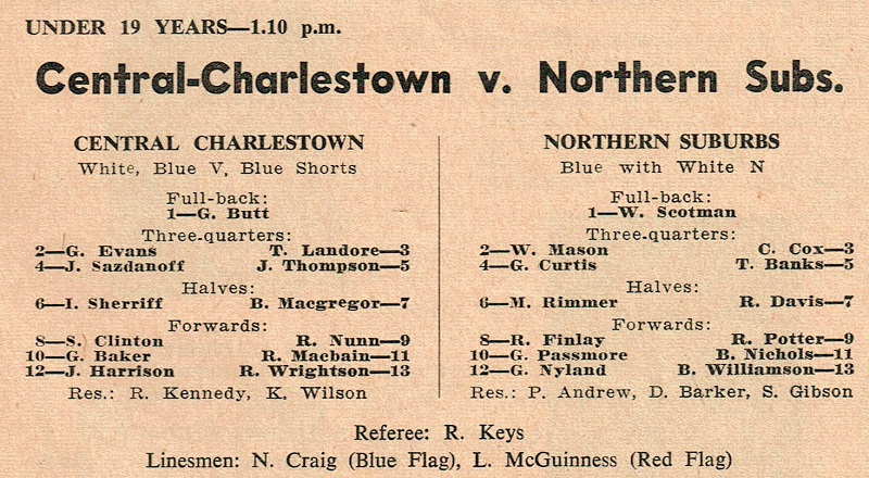 Central vs Northern Suburbs Under 19's Saturday 7th August 1971