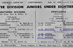 Under 18's Newcastle vs Southern Division 1955