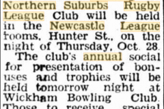 Advertisement for annual club meeting 1954.
