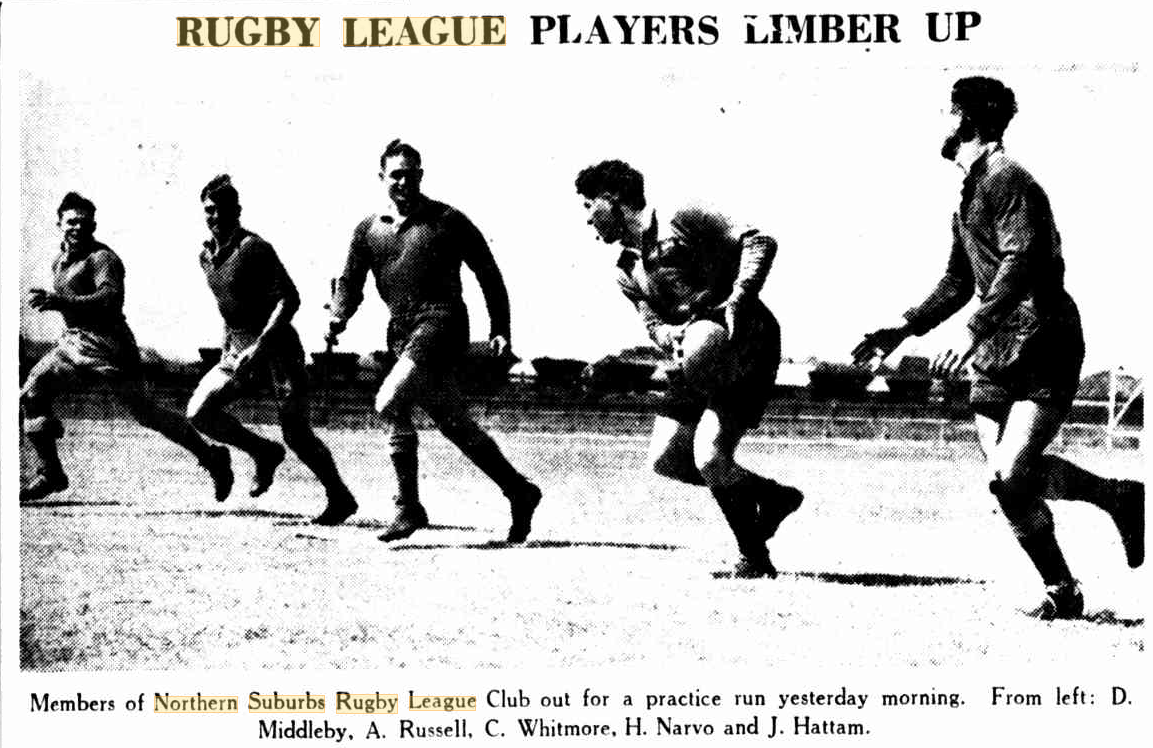 Northern Suburbs players at training 1939.