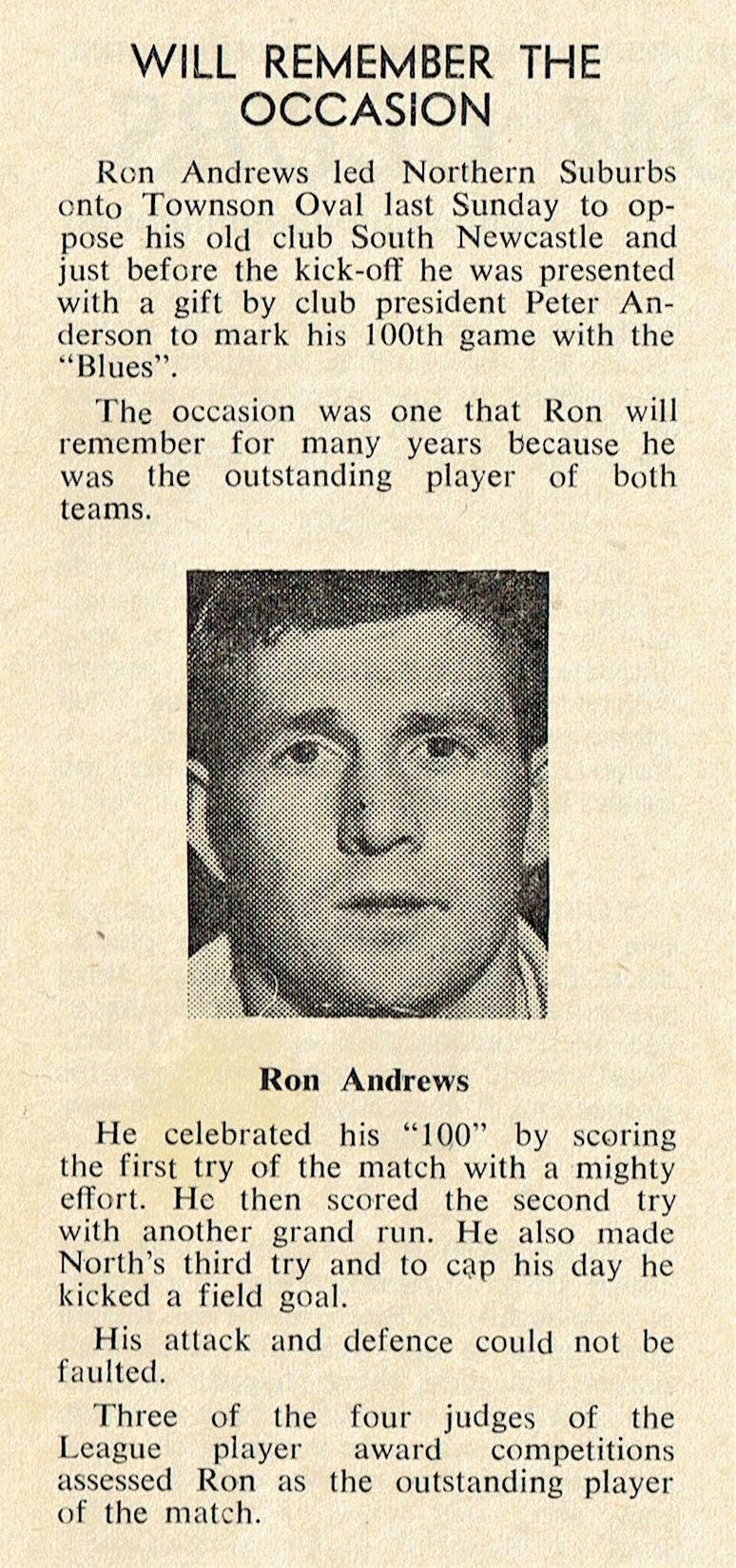 Ron Andrews 100 Games 1974.