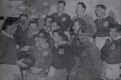 Charlie Gill and players prepare for 1951 Grand Final.