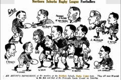 Northern Suburbs Caricatures on players from 1935.