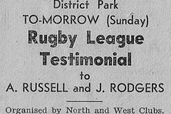 Alan Russell Testimonial Sunday 28th May 1950.